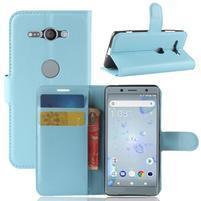 Litchi PU kožené zapínací pouzdro na Sony Xperia XZ2 Compact - světlemodré