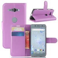 Litchi PU kožené zapínací pouzdro na Sony Xperia XZ2 Compact - fialové