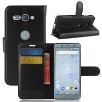 Litchi PU kožené zapínací pouzdro na Sony Xperia XZ2 Compact - černé