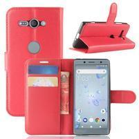 Litchi PU kožené zapínací pouzdro na Sony Xperia XZ2 Compact - červené
