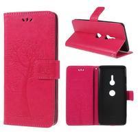 Tree PU kožené peněženkové pouzdro pro Sony Xperia XZ3 - rose