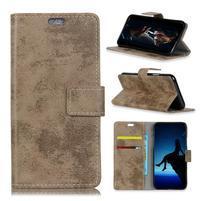 Vintage PU kožené peněženkové pouzdro na mobil Sony Xperia XZ3 - khaki