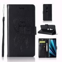 Dream PU kožené peněženkové pouzdro pro Sony Xperia XZ3 - černé