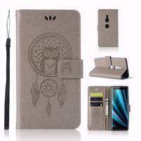 Dream PU kožené peněženkové pouzdro pro Sony Xperia XZ3 - šedé