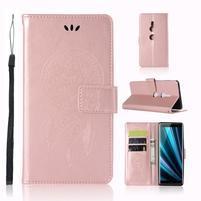Dream PU kožené peněženkové pouzdro pro Sony Xperia XZ3 - rosegold