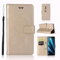 Dream PU kožené peněženkové pouzdro pro Sony Xperia XZ3 - zlaté