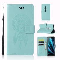 Dream PU kožené peněženkové pouzdro pro Sony Xperia XZ3 - cyan