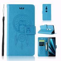 Dream PU kožené peněženkové pouzdro pro Sony Xperia XZ3 - modré