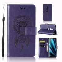 Dream PU kožené peněženkové pouzdro pro Sony Xperia XZ3 - fialové