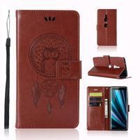 Dream PU kožené peněženkové pouzdro pro Sony Xperia XZ3 - hnědé