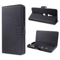 Texture PU kožené peněženkové pouzdro pro Sony Xperia XZ3 - černé