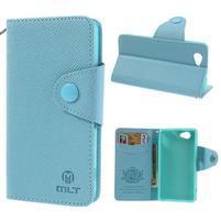 Peněženkové PU kožené pouzdro na Sony Xperia Z1 Compact - modré