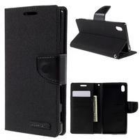 Canvas PU kožené/textilní pouzdro na Sony Xperia Z5 - černé