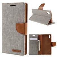 Canvas PU kožené/textilní pouzdro na Sony Xperia Z5 - šedé