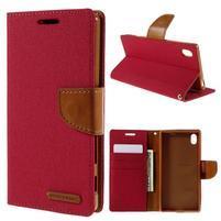 Canvas PU kožené/textilní pouzdro na Sony Xperia Z5 - červené
