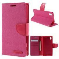 Canvas PU kožené/textilní pouzdro na Sony Xperia Z5 - rose