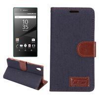 Jeans peněženkové pouzdro Sony Xperia Z5 - černomodré
