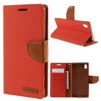 Canvas PU kožené/textilní pouzdro na Sony Xperia Z5 - oranžové