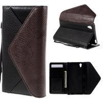 Stylové peněženkové pouzdro Sony Xperia Z5 - hnědé/černé