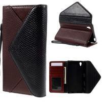 Stylové peněženkové pouzdro Sony Xperia Z5 - černé/hnědé