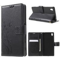 Butterfly PU kožené puzdro pre Sony Xperia Z5 - čierne