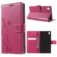 Butterfly PU kožené pouzdro na Sony Xperia Z5 - rose