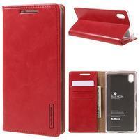 Moon PU kožené pouzdro na Sony Xperia Z5 - červené