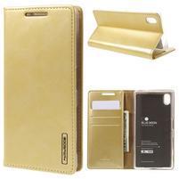 Moon PU kožené pouzdro na Sony Xperia Z5 - zlaté