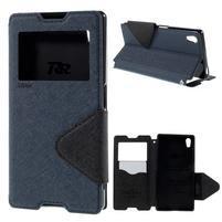 Diary pouzdro s okýnkem na Sony Xperia Z5 - tmavěmodré
