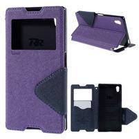 Diary pouzdro s okýnkem na Sony Xperia Z5 - fialové