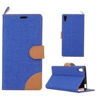 Cloth textilní/koženkové pouzdro na Sony Xperia Z5 - tmavěmodré
