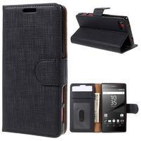 Grid peněženkové pouzdro na mobil Sony Xperia Z5 Compact - černé