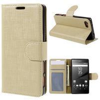 Grid peněženkové pouzdro na mobil Sony Xperia Z5 Compact - champagne