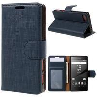 Grid peněženkové pouzdro na mobil Sony Xperia Z5 Compact - tmavěmodré
