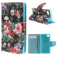 Wally Peňaženkové puzdro pre Sony Xperia Z5 Compact - kvetiny