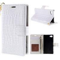 Croco peněženkové pouzdro na Sony Xperia Z5 Compact - bílé