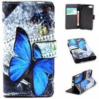 Peněženkové pouzdro na mobil Sony Xperia Z5 Compact - modý motýl
