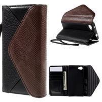 Stylové peněženkové pouzdro na Sony Xperia Z5 Compact - černé/hnědé