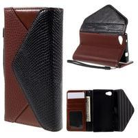 Stylové peněženkové pouzdro na Sony Xperia Z5 Compact - hnědé/černé