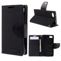 Canvas PU kožené/textilní pouzdro na Sony Xperia Z5 Compact - černé