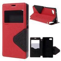 Pouzdro s okýnkem na Sony Xperia Z5 Compact - červené