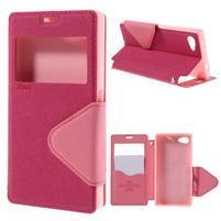 Pouzdro s okýnkem na Sony Xperia Z5 Compact - rose