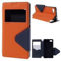 Pouzdro s okýnkem na Sony Xperia Z5 Compact - oranžové