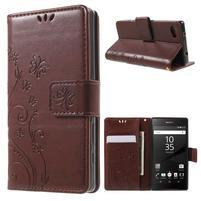 Butterfly peněženkové pouzdro na Sony Xperia Z5 Compact - hnědé