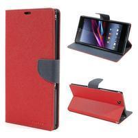 Peněženkové PU kožené pouzdro na Sony Z Ultra - červené