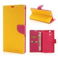 Peněženkové PU kožené pouzdro na Sony Z Ultra - žluté