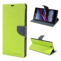 Peněženkové PU kožené pouzdro na Sony Z Ultra - zelené