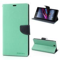 Peněženkové PU kožené pouzdro na Sony Z Ultra - azurové