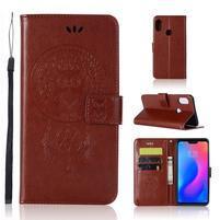 Dream PU kožené peněženkové pouzdro na Xiaomi Mi A2 Lite - hnědé