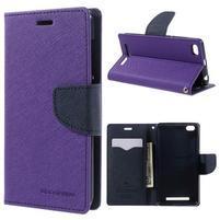 Diary PU kožené pouzdro na mobil Xiaomi Redmi 3 - fialové